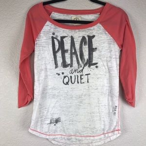 Peace ☮️ and Quiet Baseball Sleeve Top